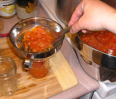 Making Marmalade - filling the jars