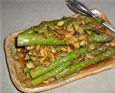 Asparagus with Pumpkin Seeds & Lemon Dressing