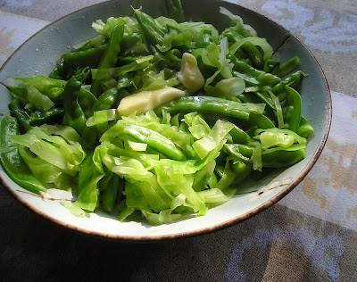 Fresh Cabbage and Snow Peas
