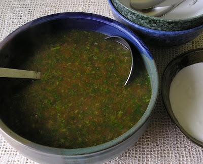 Cilantro and Tomato Soup with Creme Fraiche