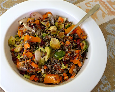 Roasted Vegetable Wild Rice Salad with Squash, Brussels Sprouts and Shallots
