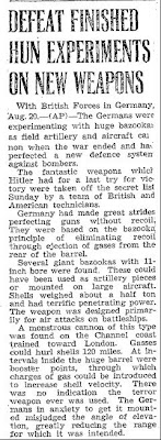 Defeat Finished Hun Experiments On New Weapons (A) - Hamilton Spectator 8-20-1945