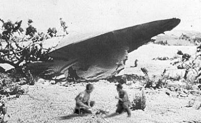 Soldiers Comfort Alien at Scene of Flying Saucer Crash