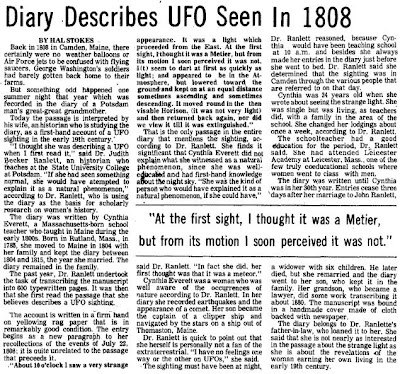 Diary Describes UFO Seen in 1808 (Body) - Courier Freeman 3-28-1978