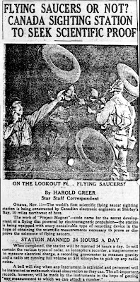 Flying Saucers or Not -  Canada Sighting Station To Seek Scientific Proof - The Toronto Star 11-11-1953