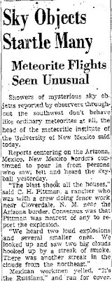 Sky Objects Startle Many - Tucson Daily 11-9-1951