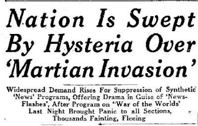 Nation is Swept By Hysteria Over Martian Invasion - The Daily Times News (Heading) 10-31-08