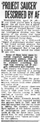 'Project Saucer' Described By Air Force - Spokane Daily Chronicle 4-28-1949