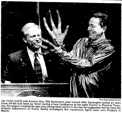 Media Miffed By Symington's UFO, Alien Press Conference (Photo) - Casa Grande Dispatch 6-2--1997