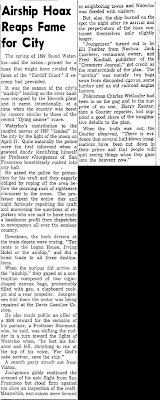 Airship Hoax Reaps Fame For City - Waterloo Daily Courier 6-2-1954