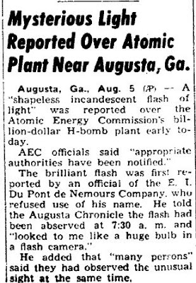 Mysterious Light Reported Over Atomic Plant Near Augusta, Ga - Bedford Gazette 8-6-1952