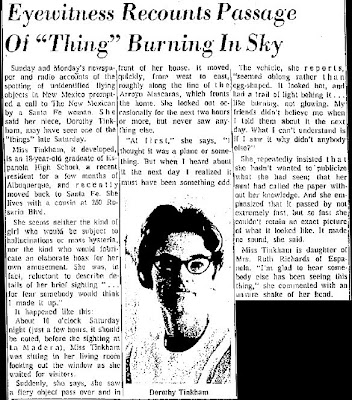 Eyewitness Recounts Passage of 'Thing' Burning in Sky - The New Mexican - 4-28-1964