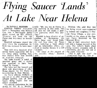 Flying Saucer Lands Near Lake at Helena - Montana Standard 5-1-1964