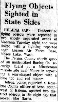 Flying Objects Sighted in State Skies - Great Falls Tribune 10-4-1962