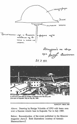 Disc-Shaped Object Emitting Beam Seen at Kapustin Yar, Astrakhan Region - 1989 Sketch By Ensign Valery N. Voloshin