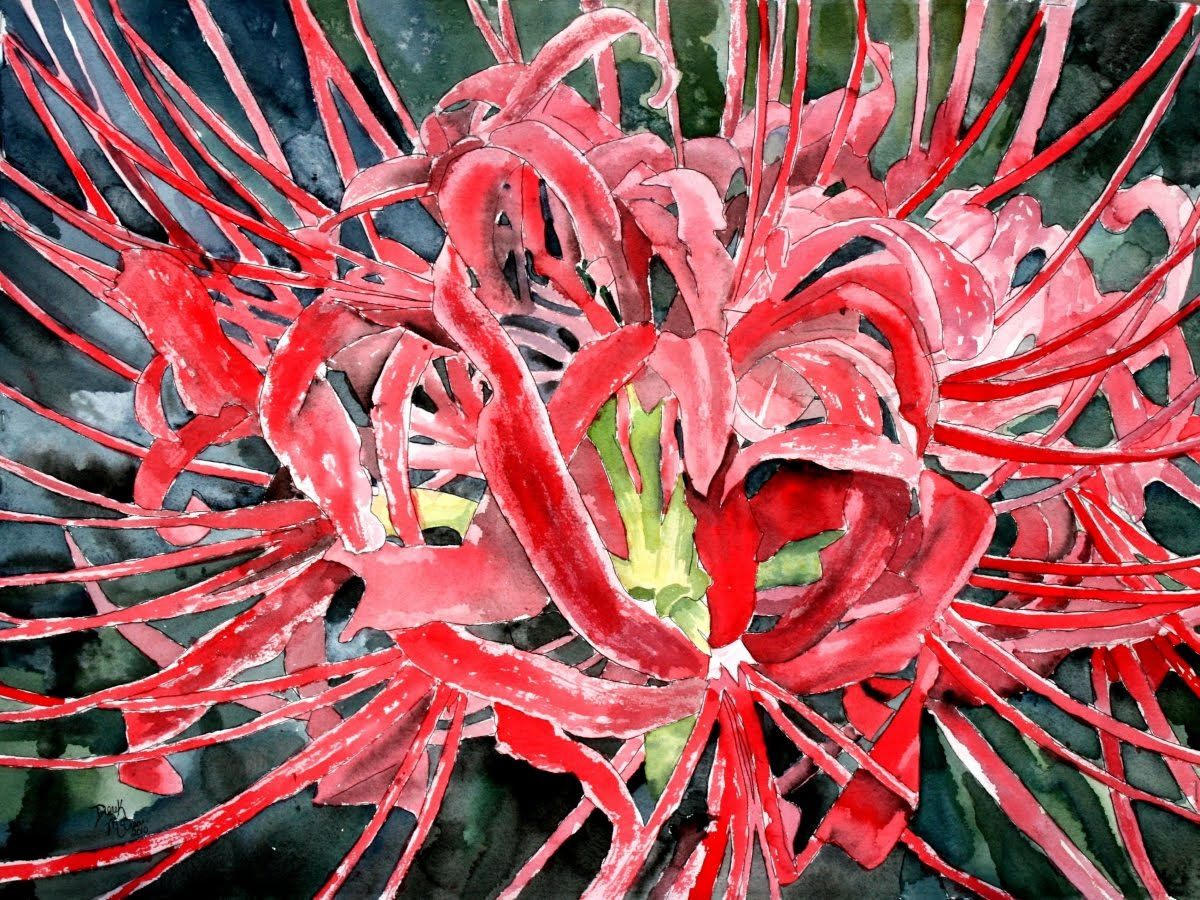 Daily Painters of Georgia: Red spider lily painting of flowers