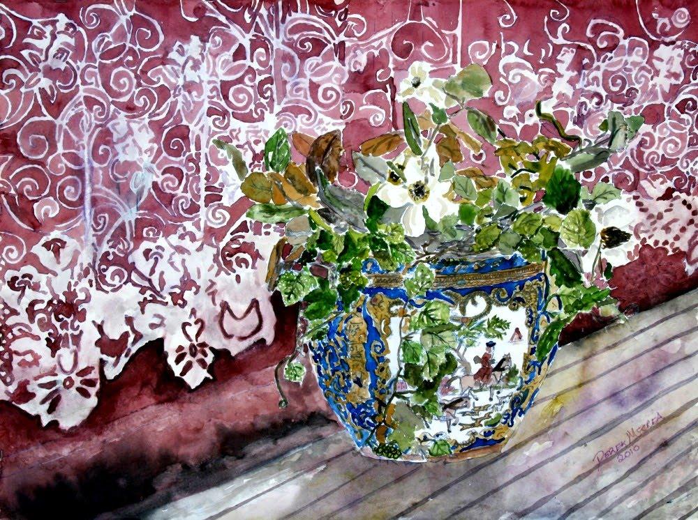 Blue Flower Vase On Brown Painting
