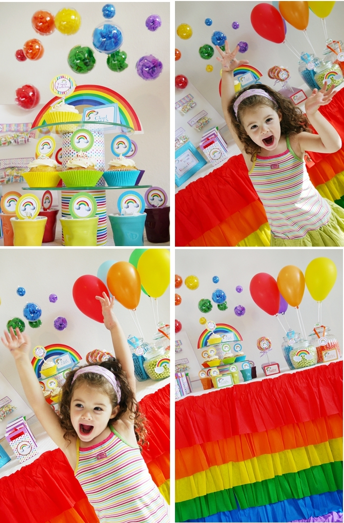 Rainbow Birthday Party with Printables table