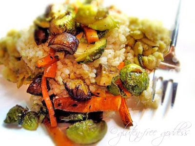 Roasted Brussells sprouts with brown rice and veggies and butter beans