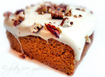 Gluten free pumpkin cake with maple frosting