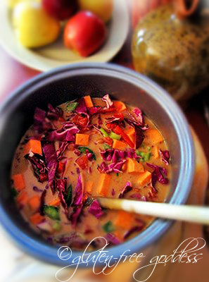 Gluten free sweet potato soup with cabbage and peanut butter