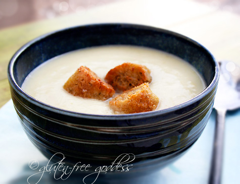 Gluten free vegan and dairy free celery soup with ryeless rye croutons