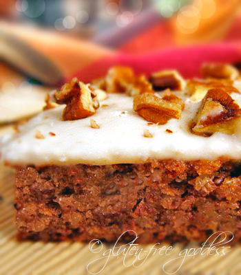 Gluten free banana spice cake recipe with frosting