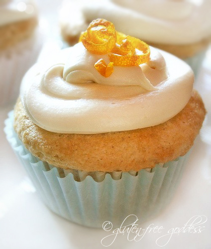 A vegan gluten free orange cupcake