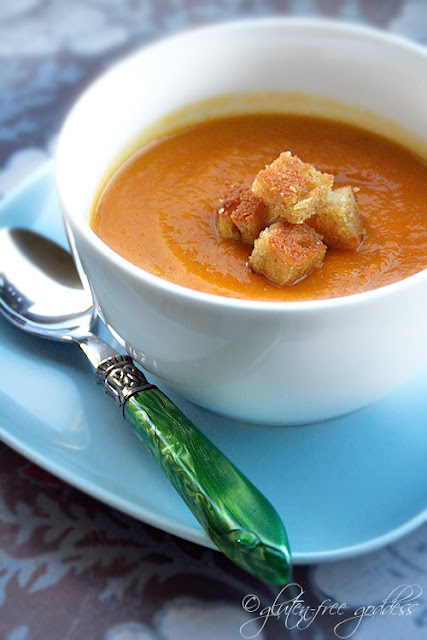 Carrot Soup with Pan Toasted Croutons - Gluten-Free Goddess Recipes