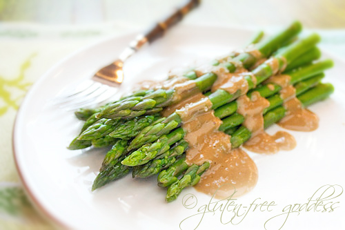 Asparagus in maple tahini dressing