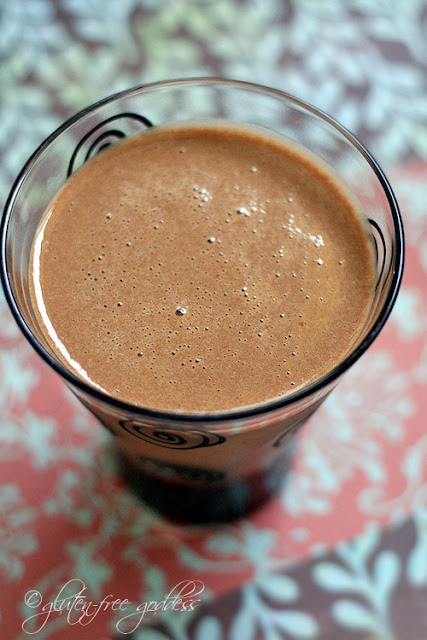 Carob and banana smoothie that is vegan and dairy-free delicious
