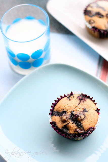 Recipe for gluten-free blueberry muffins made with almond flour