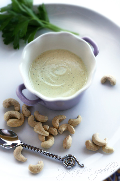 A bowl of cashew cream with herbs and curry is an easy vegan recipe