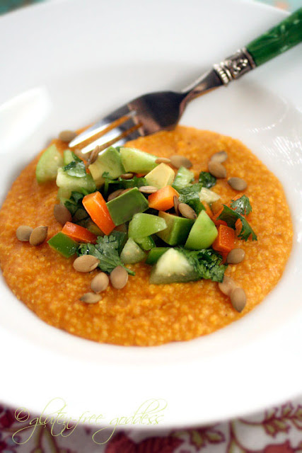 Polenta kicked up with pumpkin is a special gluten free vegan dish