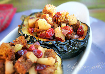 Gluten free and vegetarian stuffed acorn squash with cornbread stuffing