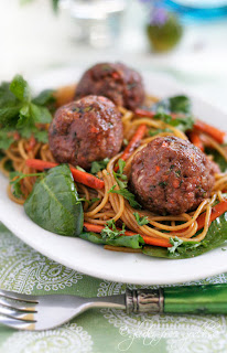Gluten free turkey meatballs with Asian style noodles recipe