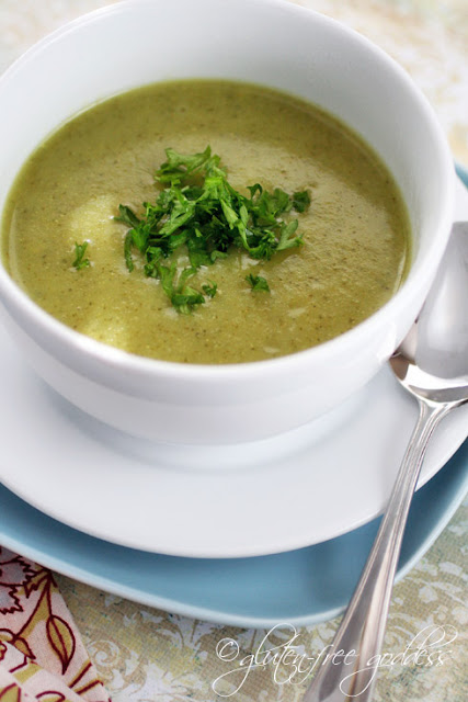 This vegan cream of broccoli soup is gluten free and thickened with gold potatoes