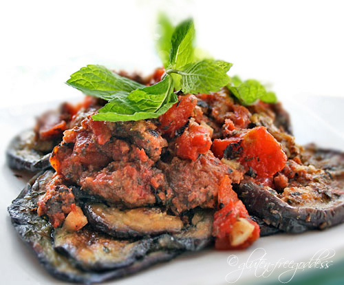 Gluten free Mediterranean beef and eggplant with mint