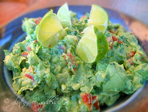 Gluten free vegan guacamole with lime and tomatillos