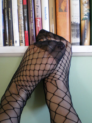 fence net pantyhose over non-stretch RHT 100 per cent nylon stockings