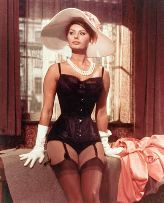 Sophia Loren nylon stockings garter belt corset