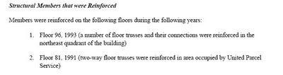 Texto: Elementos estructurales que fueron reforzados, NCSTAR 1-1, pág. 136