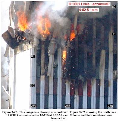 Material incandescente chorreando (imagen del informe del NIST)