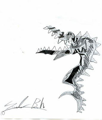 dibujos de sam  tiburon gracioso y con atardecer