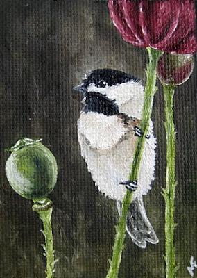 chickadee oil painting