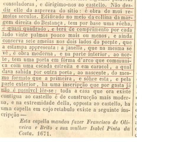 Descrição da Torre de Chã, em 1843