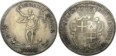 Moeda com brasão de D. Manuel Pinto, esquartelado de Ordem de Malta e Pinto