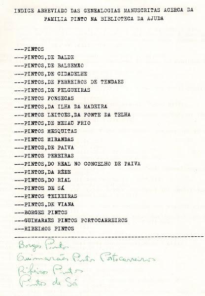 Genealogias manuscritas sobre os Pinto