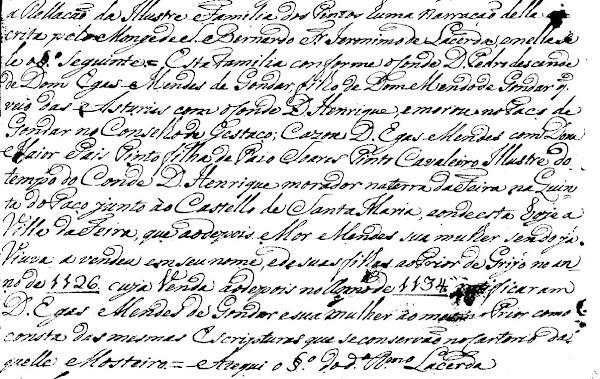 """Manuscrito """"Rellação da Ilustre Família dos Pintos"""", escrito do monge Frei Jerónimo de Lacerda."""