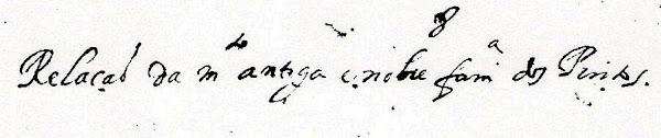 """Manuscrito """"Relação da muito antiga e nobre família dos Pintos."""""""